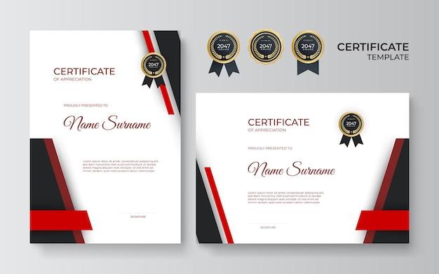 Certificato moderno rosso nero. certificato di modello di apprezzamento, colore rosso e nero. certificato moderno pulito con distintivo d'oro. modello di bordo del certificato con motivo di linea di lusso e moderno.