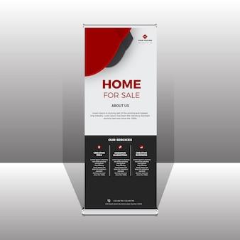 Design moderno per banner in piedi con rollup aziendale rosso