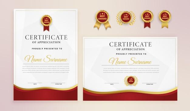 Modello di certificato elegante moderno in oro rosso