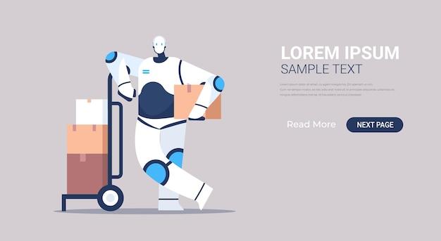 Corriere robot moderno con banner pacchi di cartone cardboard
