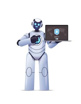 Moderno robot cyborg che tiene in mano un laptop con scudo di protezione protezione dei dati di sicurezza informatica tecnologia di intelligenza artificiale