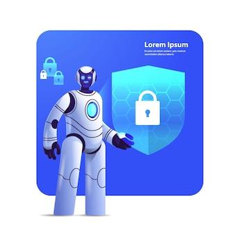 Moderno robot cyborg con scudo di protezione sicurezza informatica protezione dei dati tecnologia di intelligenza artificiale