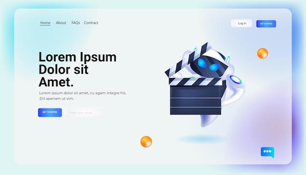 Robot moderno che tiene il cinema ciak tecnologia di intelligenza artificiale concetto di presentazione del film a figura intera orizzontale copia spazio illustrazione vettoriale