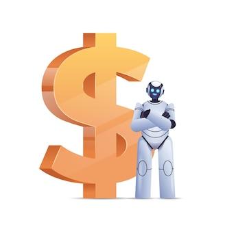 Robot moderno vicino all'icona del dollaro risparmiando denaro e ottenendo profitti investimenti ad alto reddito guadagnare crescita finanziaria intelligenza artificiale