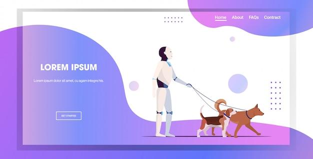 Robot moderno a spasso con i cani