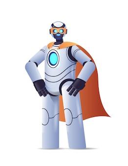 Robot moderno che indossa un mantello da super eroe intelligenza artificiale