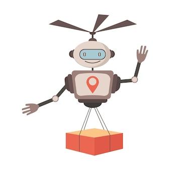 Robot sveglio dell'illustrazione piana di vettore di servizio di consegna espressa robotica moderna