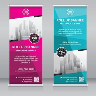 Moderno roll up banner modello di progettazione