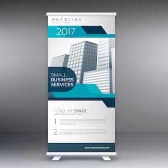 Avvolge il design stando del flyer in banner blu
