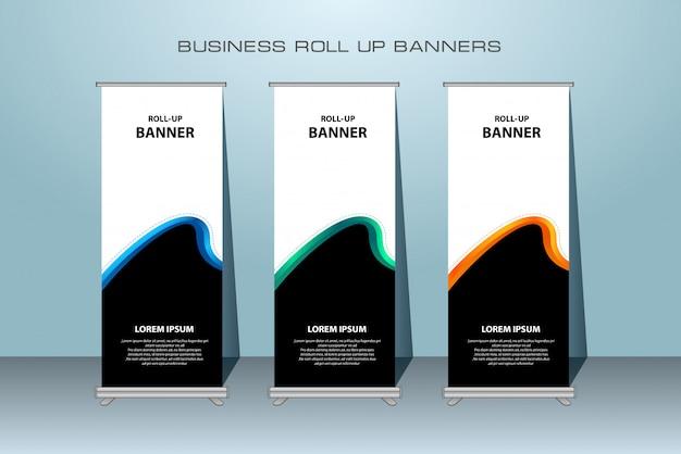 Banner roll up moderno. modello di banner verticale.