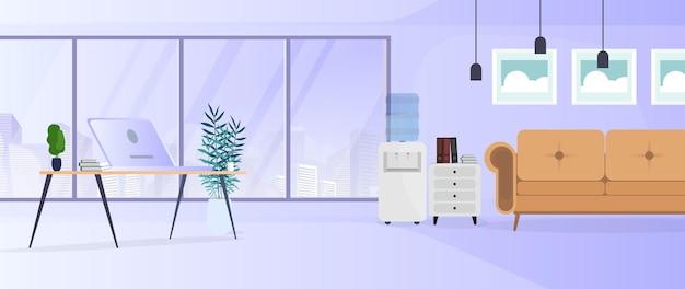 Camera moderna con ampie finestre. divano, supporto con libri, lampada da terra, pianta d'appartamento, finestre panoramiche, camera, ufficio. illustrazione.