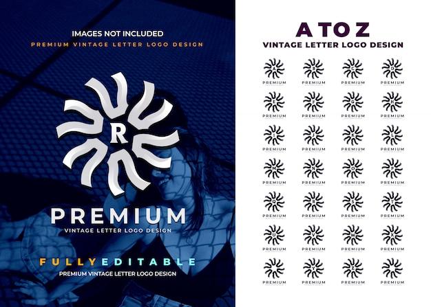 Rotondo moderno dalla a alla z vintage lettera logo