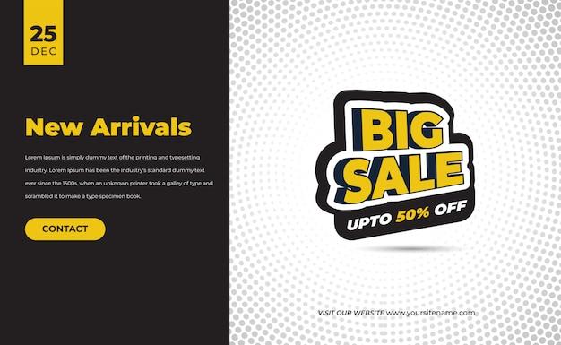 Banner di vendita moderno per web e social media con descrizione del prodotto contattaci data pulsante e tag di vendita dell'offerta sconto premium
