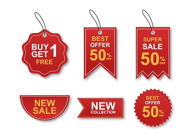 Collezione colorata di adesivi e tag di vendita moderna