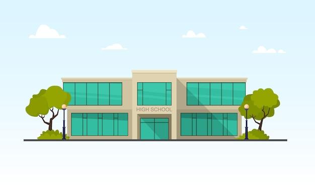 Facciata di edificio scolastico moderno con illustrazione di grandi finestre di vetro Vettore Premium