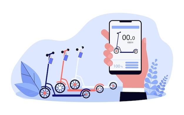 Illustrazione piana di vettore del servizio di noleggio di scooter moderno. mano che tiene lo smartphone con l'app di noleggio scooter al minuto sullo schermo. tecnologia, internet, trasporti, concetto di business per il design di banner