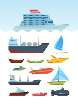 Set di illustrazioni piatte di navi e barche marittime moderne. diversa raccolta di trasporto dell'acqua.