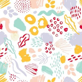 Modello senza cuciture moderno con cerchi colorati dipinti a mano, sbavature, macchie su bianco