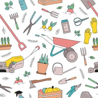 Modello senza cuciture moderno con attrezzi da giardinaggio, attrezzature per la coltivazione di piante e lavori agricoli su priorità bassa bianca.