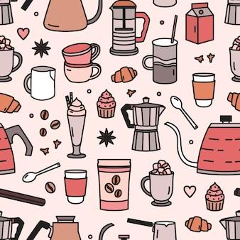 Modello senza cuciture moderno con strumenti e utensili per la preparazione del caffè o la preparazione del caffè, gustosi dessert, spezie. sfondo di caffè. illustrazione colorata in stile art line per carta da imballaggio, carta da parati.