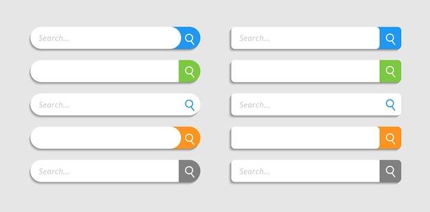 Casella di ricerca moderna. barra di ricerca degli elementi dell'interfaccia utente a colori piatti