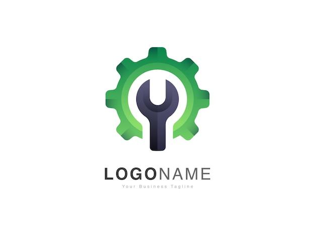 Set di logo per riparazioni auto moderne con design in stile ingranaggio e chiave inglese