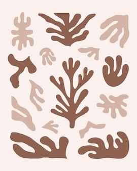 Set moderno di forme organiche marroni astratte stampe vettoriali ispirate a matisse