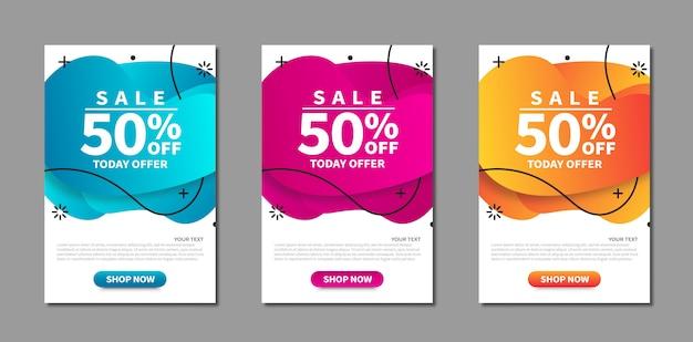 Insieme moderno dell'insegna astratta di vendita. striscioni luminosi modello discoteca. modello pronto per l'uso nel web o design di stampa.