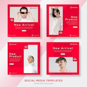 Modello di banner set moderno con colore rosso per post sui social media