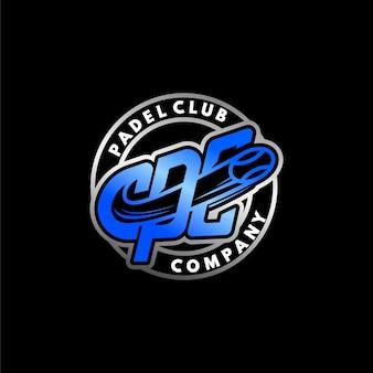 Logo del club di padel dell'emblema del set moderno