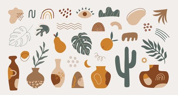 Set moderno di elementi tropicali di varie forme disegnati a mano e oggetti scarabocchiati
