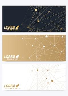 Set moderno di carte orizzontali. presentazione dorata geometrica. modello per banner, biglietto da visita, biglietto di auguri. plesso delle linee. superficie della carta. design caotico minimalista.