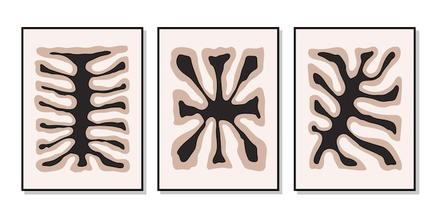 Poster di set moderni con forme organiche colorate astratte