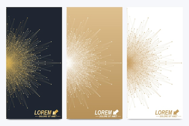 Set moderno di volantini vettoriali. presentazione astratta geometrica con mandala dorata. molecola e background di comunicazione per medicina, scienza, tecnologia, chimica.