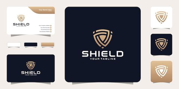 Logo scudo moderno con modello di progettazione di biglietto da visita