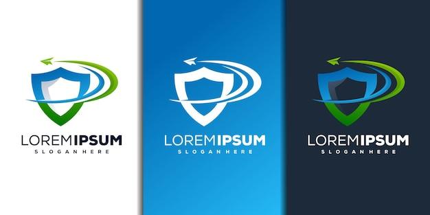 Design moderno del logo con scudo e aeroplano di carta