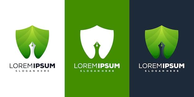 Scudo moderno e design del logo della penna