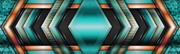Moderna geometrica verde brillante con sfondo dorato a strati sovrapposti