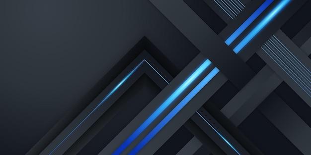 Sfondo astratto 3d blu e nero lucido moderno con motivo a trama metallica e decorazione leggera. forme di strati sovrapposte e concetto futuristico