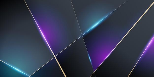 Fondo astratto moderno 3d dell'oro rosso blu brillante con il modello di struttura del metallo e la decorazione leggera. forme di strati sovrapposte e concetto futuristico