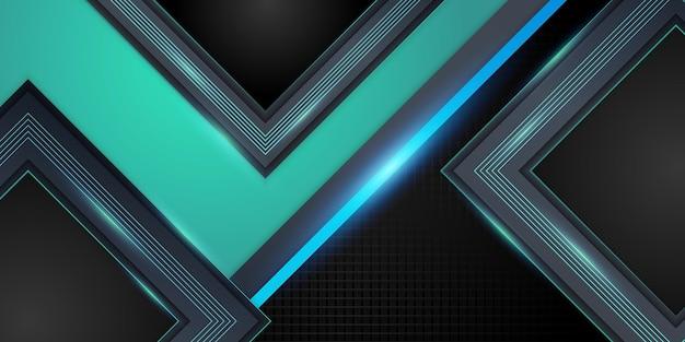 Fondo astratto moderno 3d verde scuro lucido con motivo a trama metallica e decorazione leggera. forme di strati sovrapposte e concetto futuristico
