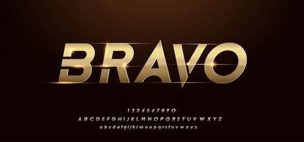 Moderno alfabeto oro lucido. caratteri tipografici futuristici