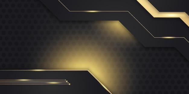 Sfondo astratto 3d moderno in oro lucido e nero con motivo a trama metallica e decorazione leggera. forme di strati sovrapposte e concetto futuristico