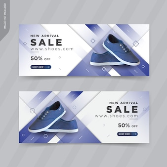 Progettazione di modelli di copertina di banner web di scarpe moderne