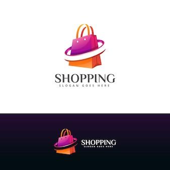Modello moderno di progettazione del logo della borsa della spesa