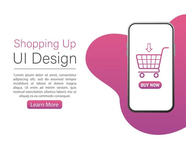 Shopping moderno con modelli di dispositivi di progettazione dell'interfaccia utente su sfondo bianco per il concept design.