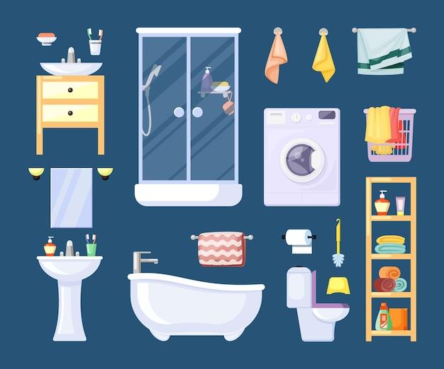 Cabina doccia moderna con asciugamano da bagno retrò shampoo