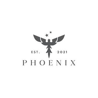 Concetto di design del logo fenice volante moderna silhouette