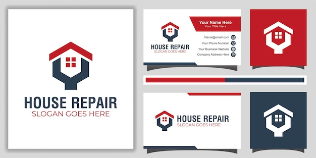 Modello di logo del servizio di riparazione a domicilio semplice e moderno con design del biglietto da visita