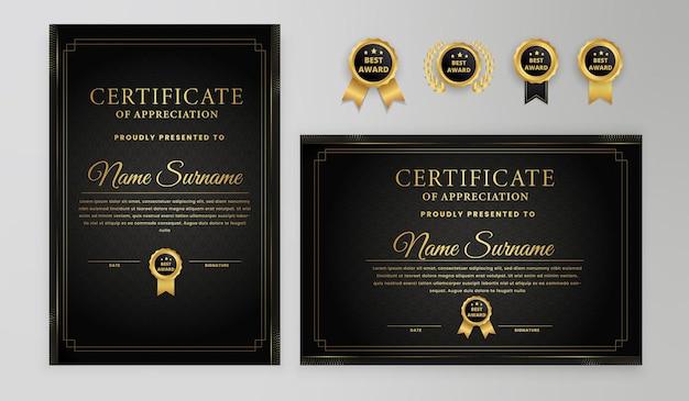 Certificato di conseguimento moderno semplice geometrico nero e oro con modello di badge